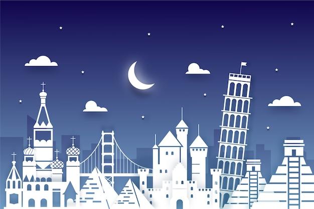 Traveling landmarks skyline in paper style