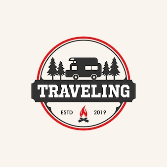 Traveling logo design inspiration with car and bonefire element,