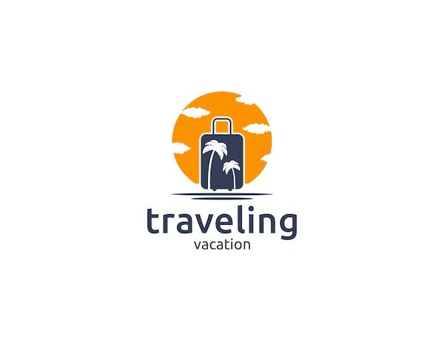 여행 가방, 야자수, 태양 일러스트와 함께 여행 로고 디자인