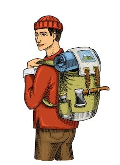 バックパックと荷物を持つ旅人。キャンプ旅行、アウトドアアドベンチャー、ハイキング。流行に敏感な観光。古いスケッチ、休暇ツアーのビンテージスタイルで描かれた刻まれた手。