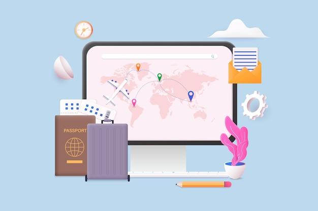 여름 휴가 관광 온라인 티켓 개념을 계획하는 비행기 여행