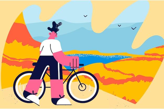 자전거 벡터 일러스트 레이 션에 여행. 자연 벡터 삽화에서 혼자 자전거를 타고 여행하는 동안 바다 전망을 바라보며 서 있는 젊은 남자 만화 캐릭터