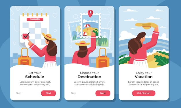 Traveling onboarding app screens