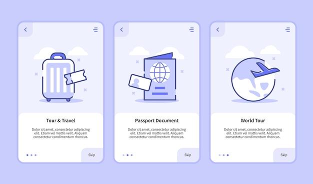 여행 온 보딩 화면 모바일 앱용 최신 사용자 인터페이스 ux ui 템플릿 스마트 폰 투어 및 플랫 스타일의 여행 여권 문서 월드 투어