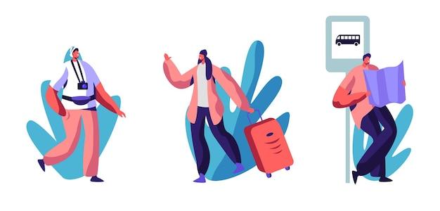 Набор для путешествий или пеших прогулок. мультфильм плоский иллюстрация