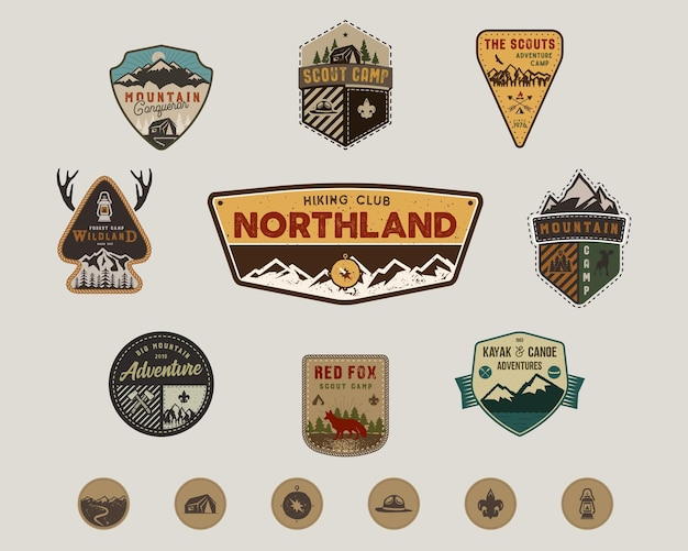 Traveling, outdoor badge collection. scout camp emblem set and hiking stickers, icons. vintage hand drawn design. stock vector illustration, insignias, rustic patches. isolated on white background.