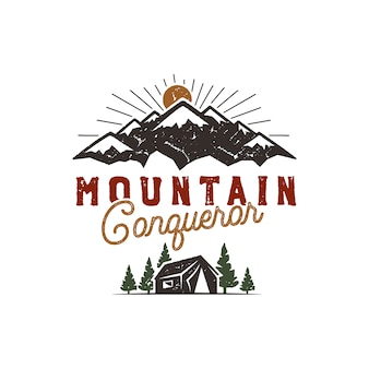 Traveling, outdoor badge. scout camp emblem. vintage hand drawn design. mountain conqueror quote. stock vector illustration, insignia, rustic patch.