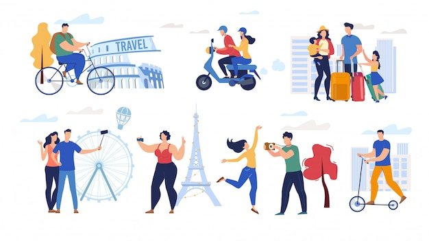 Traveling people flat  characters set