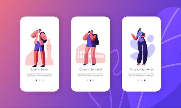 여행하는 사람, 가이드, 여행사 서비스, 여행 라이프 스타일 모바일 앱 페이지 온보드 화면 세트