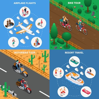 Traveling people isometric concept