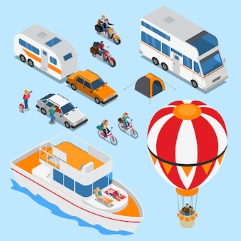 Traveling people isometric set