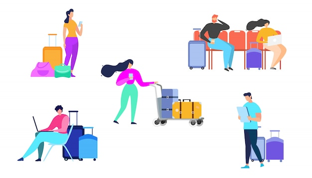 Traveling people with baggage flat vector set