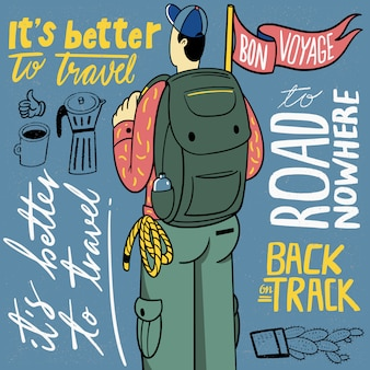 Traveling people with hand lettering illustration
