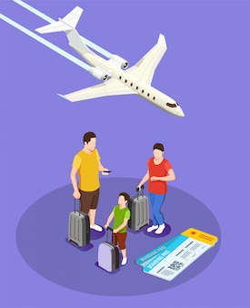 Traveling people with luggage and boarding passes isometric composition with plane on violet