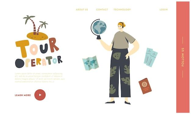 여행 서비스 방문 페이지 템플릿입니다. 여행사 여성 캐릭터, 손에 글로브를 들고 있는 여행사 에이전트가 고객에게 제안하기 위해 뜨거운 제안을 찾고 있습니다. 선형 벡터 일러스트 레이 션