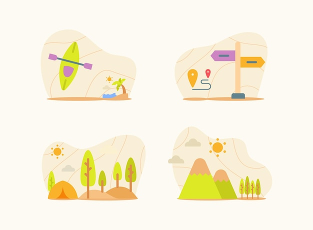 Traveling set collection package white isolated background      style vector design illustration