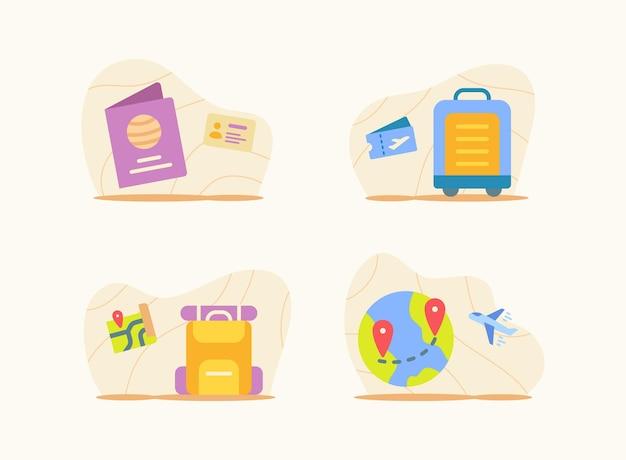여행 세트 컬렉션 패키지 흰색 격리 된 배경