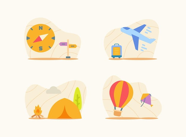 Traveling set collection package white isolated background
