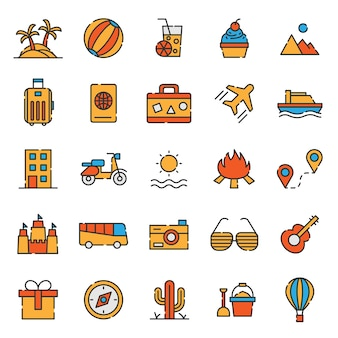 Traveling set of tourism holiday icons