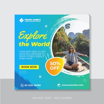 旅行ソーシャルメディア正方形バナーテンプレート