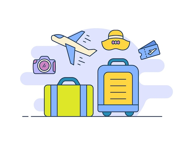 Traveling suitcase icon icons set collection package