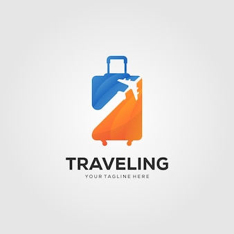 Traveling suitcase logo