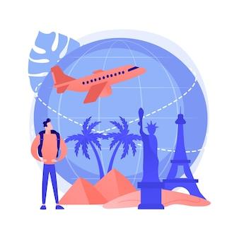 世界を旅する抽象的な概念イラスト