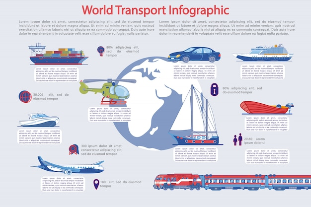 Traveling and tourism transportation infographic