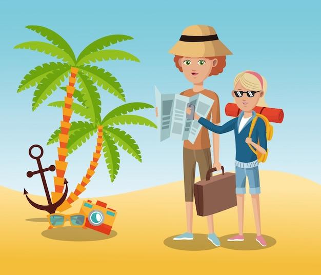 Traveling tourist camera glasses anchor palm sand beach