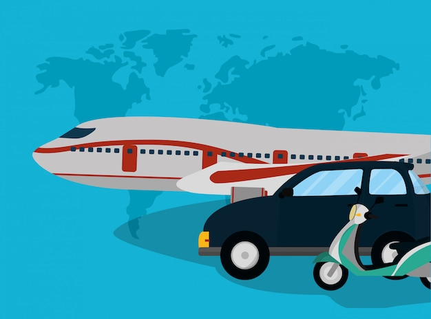 Traveling and transport cartoon