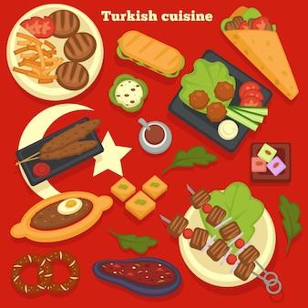 旅行トルコ料理の食事と料理の料理のレシピは、トルコのキッチンシャシリクまたはバーベキューステーキとフライドポテトのドナーまたはケバブサンドイッチとミートボールとサラダベーカリー製品と肉をベクトルします