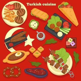Traveling turkish cuisine meals and dishes culinary recipes vector turkey kitchen shashlik or bbq steaks and french fries doner or kebab sandwich and meatballs with salad bakery products and meat