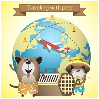 Traveling with pets on airlines concept. with pets, kennel and earth globe