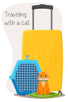 Путешествие с чемоданами для домашних животных и изолированной иллюстрацией переноски для кошек