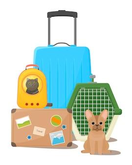 Путешествие с домашними животными, чемоданы, рюкзак и переноска для собак, счастливая собака рядом с клеткой