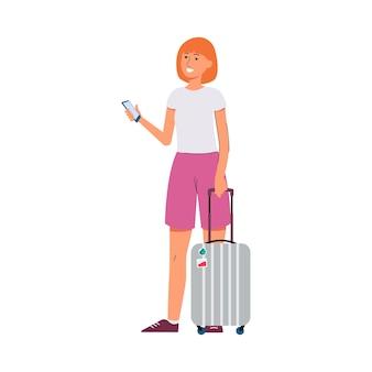 白い背景の上のスーツケースとスマートフォンの漫画キャライラストと旅行の女性。夏の休暇、旅、観光。