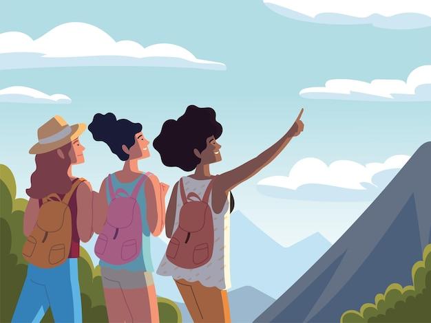 가방을 들고 여행하는 여성 자연 풍경