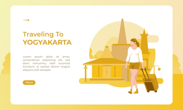 Traveling to yogyakarta indonesia, illustrated with a holiday theme for a tourism day