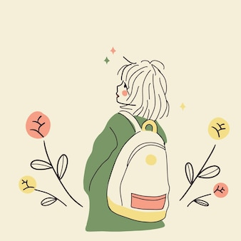 Traveling young girl with backpack summer outdoor concept with flower