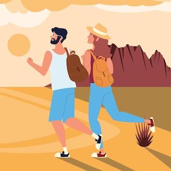 Путешественники с рюкзаком скалистый пейзаж