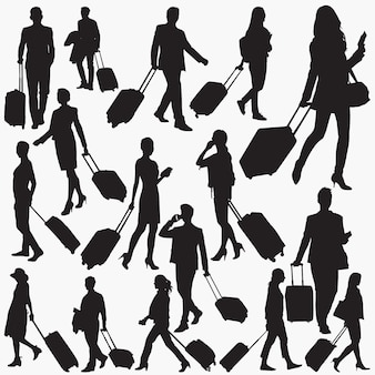 Travellers with suitcase silhouettes