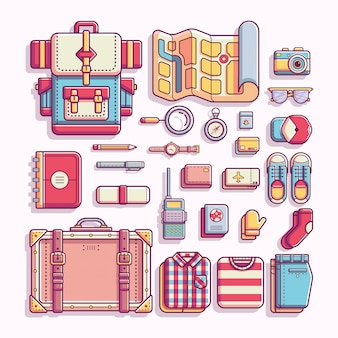 Travelling and adventure equipment flat vector