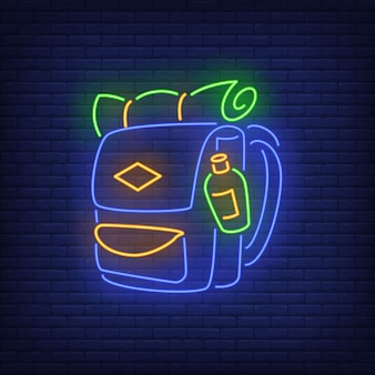 Travelling backpack neon sign.