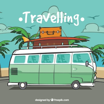 Travelling to the beach background