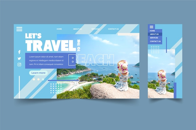 Travelling to the beach landing page