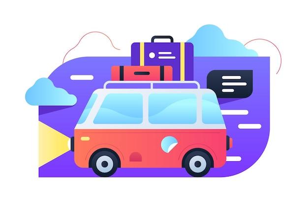 자동차 그림으로 여행. 최고 평면 스타일에 수하물과 밝은 빨간색 트럭. 즐거운 주말. 자연 개념에 가족 미니 여행. 외딴