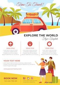 Travelling by car sale flyer template