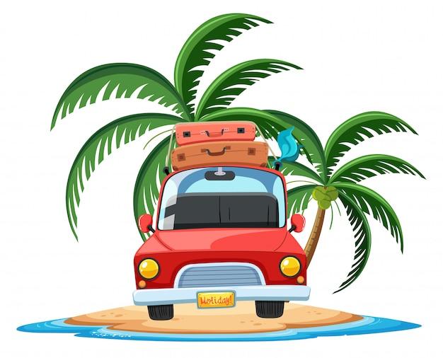 白い背景の上の熱帯の島の漫画のキャラクターの車を旅行