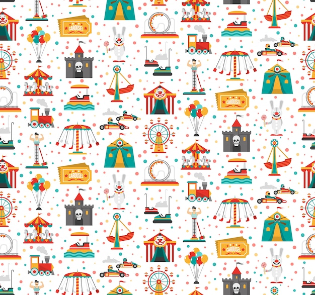 Travelling carnival amusement park show fair seamless festive pattern with retro tickets clown