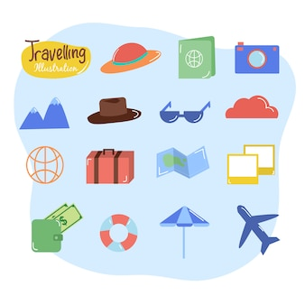 Travelling collection icon  set